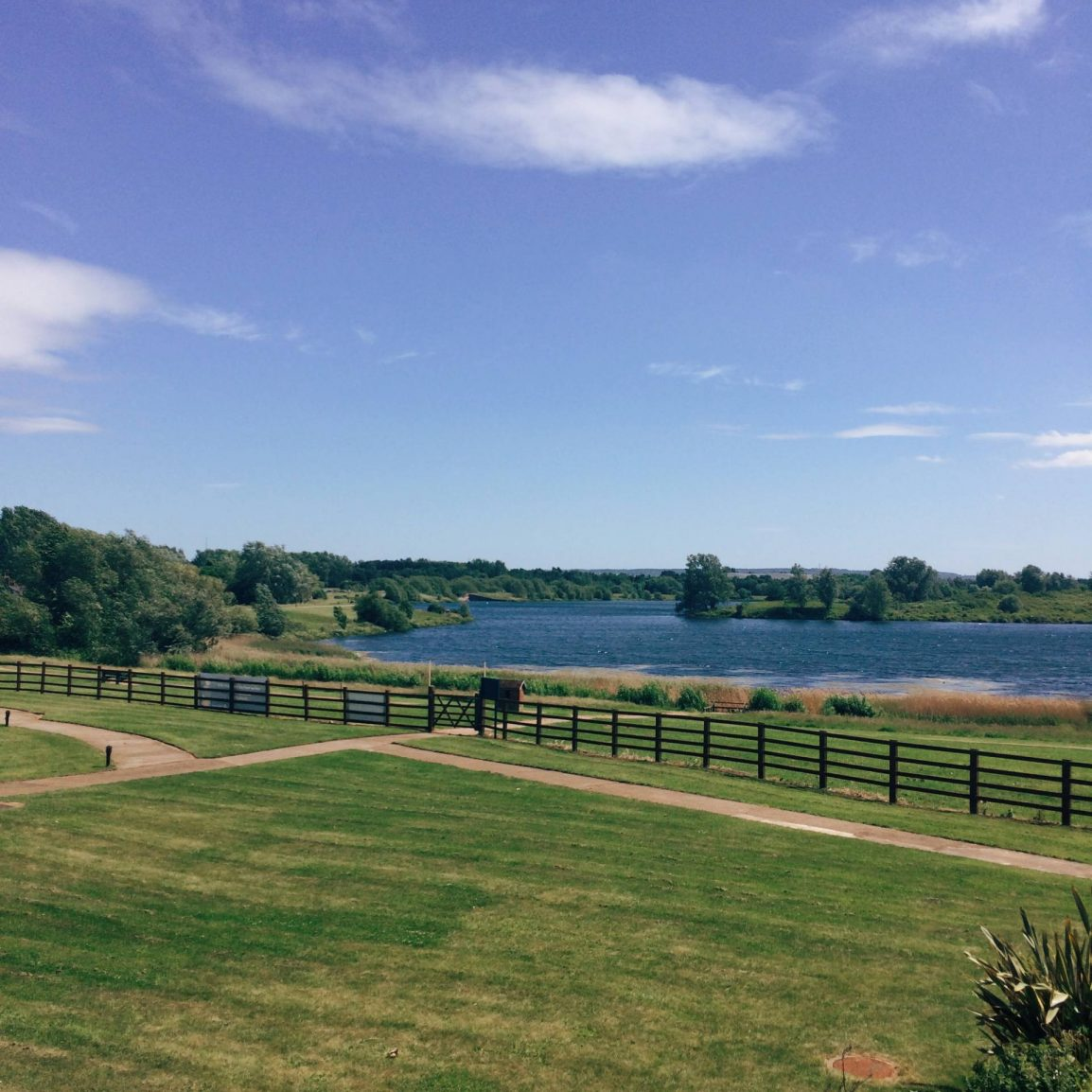 view out over willen lake from willen hospice