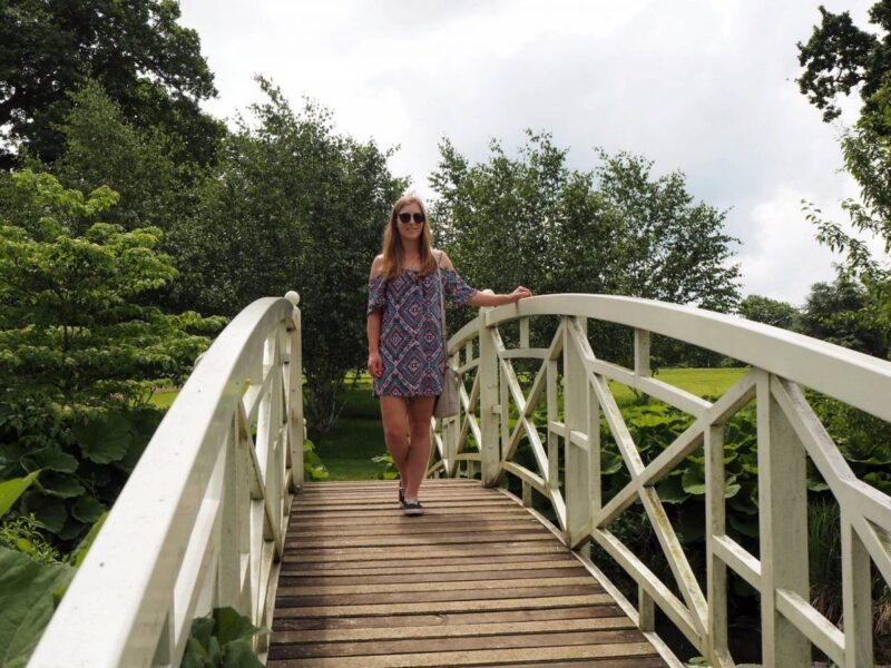 girl on the bridge at Woburn Abbey and Gardens