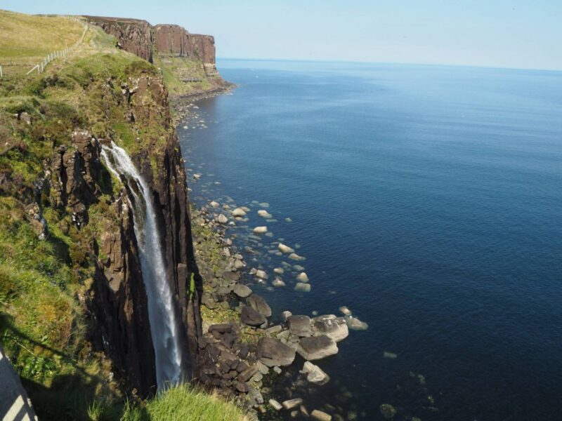 Stopping at Mealt Falls during an Isle of Skye road trip tour